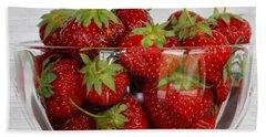 Bowl Of Strawberries Beach Sheet