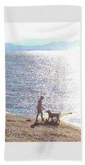 Beach Towel featuring the photograph Boy And Dog by Felipe Adan Lerma