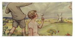 Boy And Girl Flying A Kite Beach Towel