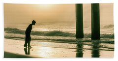 Beach Towel featuring the photograph Boy At Sunrise In Alabama  by John McGraw