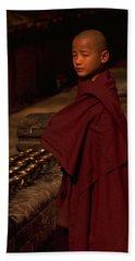 Boy Buddhist In Bodh Gaya Beach Sheet