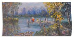 Boy Fishing On Dock And Boat On Lake Beach Sheet