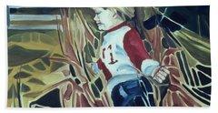 Boy In Grassy Field Beach Sheet