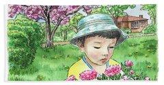 Boy In The Spring Garden Beach Towel