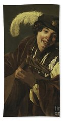 Boy Playing The Lute Beach Towel