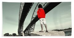Boy Under Bridge Beach Towel
