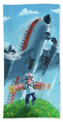 Boy With Airplane On Hilltop Beach Towel