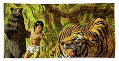 Boy With Bear And Tiger  Beach Towel