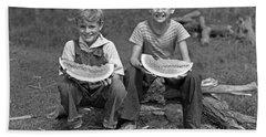 Boys Eating Watermelons, C.1940s Beach Towel