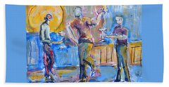 Beach Towel featuring the painting Boys Night Out by Mary Schiros