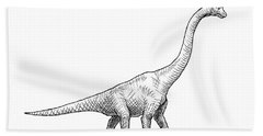 Beach Sheet featuring the drawing Brachiosaurus Black And White Dinosaur Drawing  by Karen Whitworth