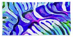 Brain Coral Abstract 5 In Blue Beach Towel