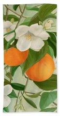 Branch Of Orange Tree In Bloom Beach Towel