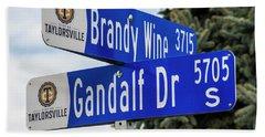Brandywine And Gandalf Street Signs Beach Sheet by Gary Whitton
