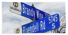 Brandywine And Rivendell Street Signs Beach Sheet by Gary Whitton