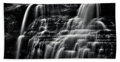 Brandywine Falls At Cuyahoga Valley National Park B W Beach Towel