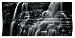 Brandywine Falls At Cuyahoga Valley National Park B W Beach Towel