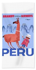 Braniff Airways Peru Child And Llama Travel Poster Beach Towel