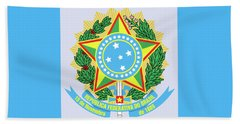 Beach Sheet featuring the drawing Brazil Coat Of Arms by Movie Poster Prints