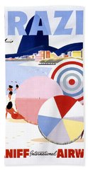 Brazil Vintage Travel Poster Restored Beach Towel