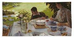 Breakfast In The Garden, 1883 Beach Sheet by Giuseppe Nittis