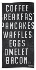 Breakfast List Beach Towel