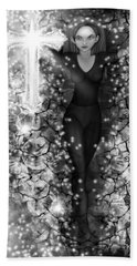 Breaking Through Darkness - Black And White Fantasy Art Beach Towel