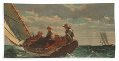 Beach Towel featuring the painting Breezing Up A Fair Wind - 1876 by Winslow Homer