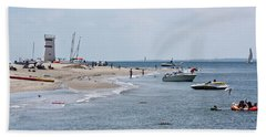 Breezy Point Lighthouse Beach Sheet by Ann Murphy
