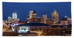 Brew City At Dusk Beach Towel