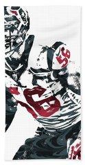 Brian Cushing Houston Texans Pixel Art Beach Towel by Joe Hamilton
