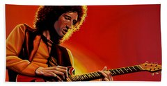 Brian May Of Queen Painting Beach Towel