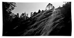Bridal Veil Falls In Black And White Beach Towel