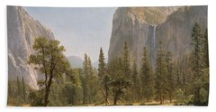 Bridal Veil Falls Yosemite Valley California Beach Towel