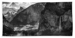 Bridalvail Falls And Half Dome Beach Towel
