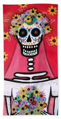 Beach Towel featuring the painting Bridezilla Dia De Los Muertos by Pristine Cartera Turkus