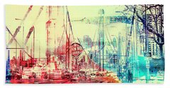 Bridge And Grain Belt Beer Sign Beach Towel by Susan Stone
