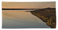 Bridge And Ria At Sunset In Quinta Do Lago Beach Sheet