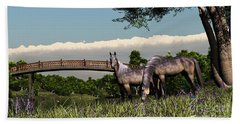 Bridge And Two Horses Beach Towel by Walter Colvin