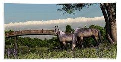 Bridge And Two Horses Beach Sheet