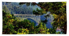 Beach Towel featuring the photograph Bridge At Deception Pass by Michelle Joseph-Long