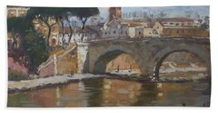 Bridge At Isola Tiberina Rome Beach Towel