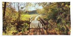Bridge In Autumn Beach Towel by Janette Boyd