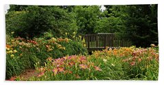 Beach Towel featuring the photograph Bridge In Daylily Garden by Sandy Keeton