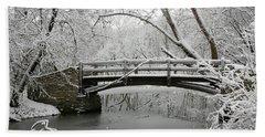 Bridge In Winter Beach Towel
