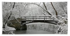 Bridge In Winter Beach Towel
