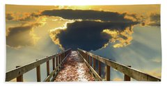 Bridge Into Sunset Beach Sheet by Inspirational Photo Creations Audrey Woods