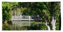 Beach Towel featuring the photograph Bridge On Lilly Pond by Lori Mellen-Pagliaro