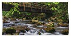 Bridge Over Rocky Water Beach Towel