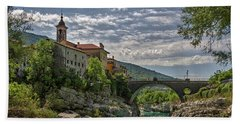 Beach Sheet featuring the photograph Bridge Over The Soca - Kanal Slovenia by Stuart Litoff